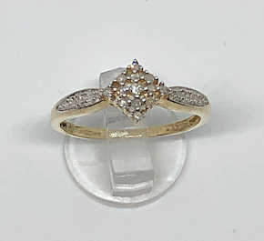 9ct Yellow Gold 19 stone Diamonds Ring 10pts