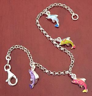 Dolphins enamel Childrens Sterling Silver Bracelet 155mm
