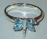 Silver Dragonfly Blue Stone set Ring 925
