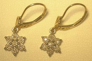 9ct Gold Diamond Flower Cluster Drop Earrings