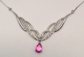 Pink Sapphire and Diamonds 9ct White Gold Necklace