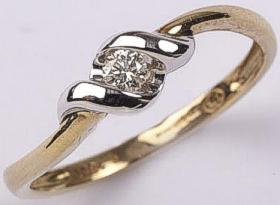 Diamond Solitaire with Twist setting 9ct Gold 0.10Ct Diamond