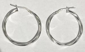 Elegant Simple Twist 30mm Silver Hoops