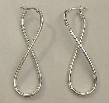 Figure Eight Twist Design Sterling Silver Hoops 50mm