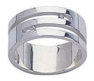 Diamond Twin Slash Fred Bennett Mens Silver Ring