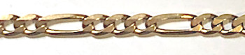 9 carat Gold 28inch Long Figaro 3+1 Chain 5mm x 730mm