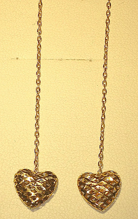 9ct Gold Filigree Heart Pull Through Earrings (pair)