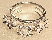 Triple Flower design Silver wide Ring