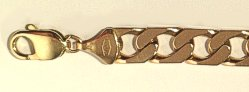 9 carat Gold Flat Edge Curb Bracelet 215mm x 9mm gauge