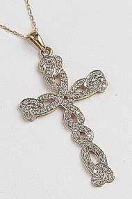 9ct Gold Large Diamond Cross 0.33 Carat