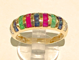 9ct Gold Gemstone Bands Ring with Diamonds