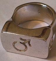 Heavy Silver Mens Gender Symbol Ring