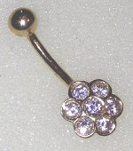 9ct Gold Flower CZ set Naval Barbell 12mm x 1.6mm
