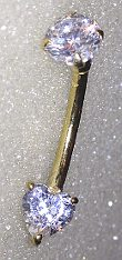 9ct Gold Barbell with Heart CZ & Top CZ Stones 14g 12mm