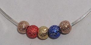 Sterling Silver Coloured Glitter Balls Snake Necklace