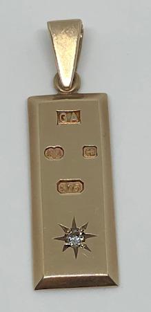 9ct Gold Display Hallmark Diamond INGOT Pendant Millennium