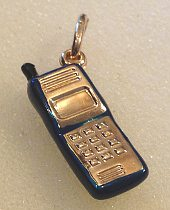 9ct Gold Blue Enamel Mobile Phone Pendant Charm