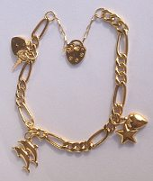 9ct Gold Charm Padlock Bracelet hollow Figaro with Charms