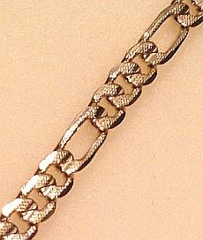 Textured Gold tone FIGARO Bracelet Mens 10mm