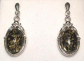 Antique design Silver Green Amber Drop Earrings