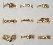 Pack 24 x Gold tone Clear Stone set Rings