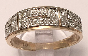 Greek design 9ct Gold Diamond set Ring