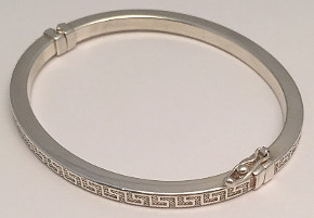 Greek design Sterling Silver Oval Bangle