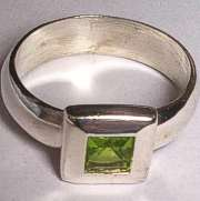Sterling Silver Wide Green Stone set Ring
