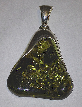 Green Amber Large Pear shape Pendant