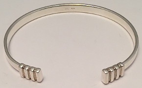 Sterling Silver Torque Bangle with Grooved Ends
