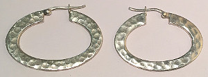 Sterling Silver Hammered finish Oval Hoops