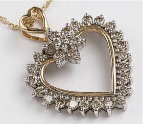 1 CT DIAMOND Large HEART 9ct GOLD PENDANT