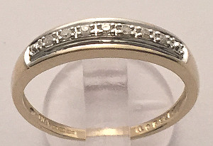 9 carat Gold Half Eternity 7 Diamond Ring