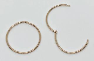 9ct Gold Hinged Sleeper Hoops 14mm