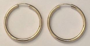 9ct Gold Large Hoop Earrings 34mm x 2mm