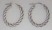 Sterling Silver Rope Twist Hoops 30mm