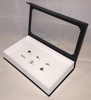Ring Display Case with Clear hinged Lid (72 Ring size)