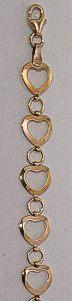 9ct Gold in-line Open Heart Bracelet