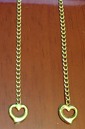 9ct Gold Open Hearts Pull Through 75mm Long Earrings