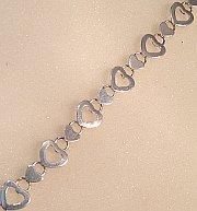 Sterling Silver Hearts design Bracelet 190mm