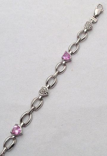 9ct White Gold Pink Heart Stone and Diamonds Bracelet