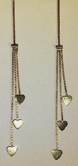 Pull Through 9ct Gold Triple Heart 95mm Long Earrings