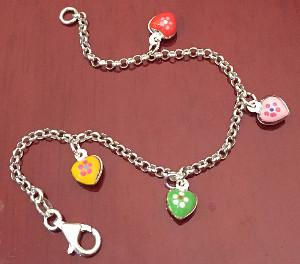 Hearts enamel Childrens Sterling Silver Bracelet 155mm