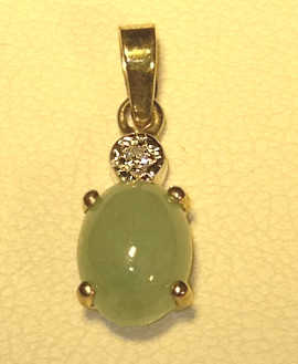 9ct Gold Diamond & Jade Pendant