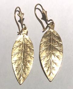 9 carat Gold Leaf Drop Earrings