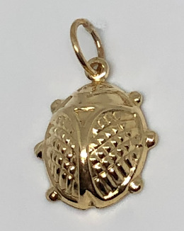 9ct Gold Large Ladybird Pendant or Charm 16mm