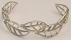 Leaf Sterling Silver Wide Torque Bangle