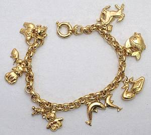 Large 9 Carat Gold Charm Bracelet with Charms
