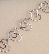 Large Silver Double Heart Bracelet 925
