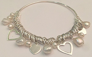 Round Sterling Silver Links Heart Pearl Bangle